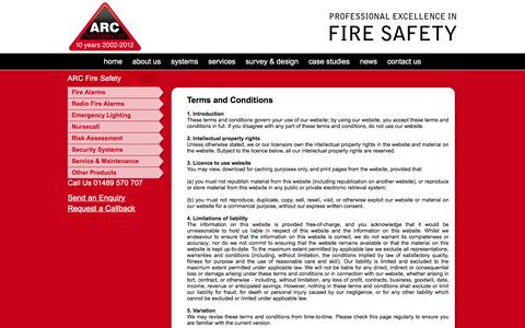 Screenshot of Terms Page arcfiresafety.co.uk - ARC Fire Safety : Terms and Conditions - captured Feb. 5, 2016