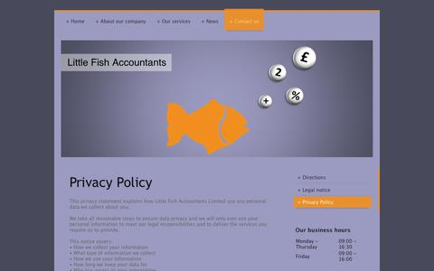 Screenshot of Privacy Page littlefishaccountants.co.uk - Little Fish Accountants - Privacy Policy - captured Sept. 29, 2018