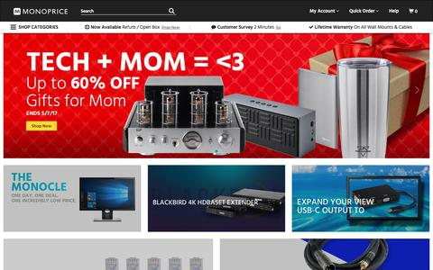 Screenshot of Home Page monoprice.com - HDMI Cable, Home Theater Accessories, HDMI Products, Cables, Adapters, Video/Audio Switch, Networking, USB, Firewire, Printer Toner, and more! - Monoprice.com - captured May 2, 2017
