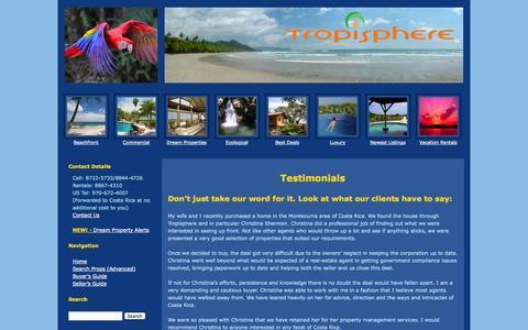 Screenshot of Testimonials Page tropisphere.com - Testimonials - Tropisphere Real Estate - captured Oct. 9, 2014