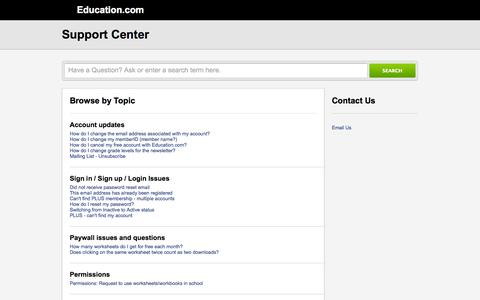 Screenshot of Support Page education.com - Education.com |        Portal - captured Sept. 15, 2014