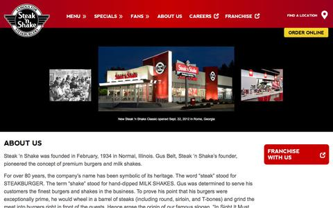 Screenshot of About Page steaknshake.com - About-us | Steak 'n Shake - captured Sept. 21, 2018