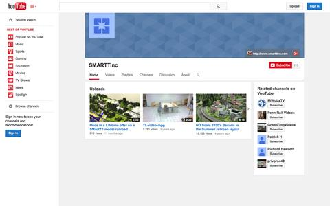 Screenshot of YouTube Page youtube.com - SMARTTinc  - YouTube - captured Oct. 23, 2014