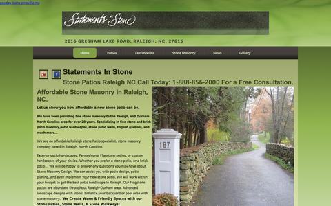 Screenshot of Home Page statementsinstone.com - Stone Patios Raleigh NC | Stone Masonry 1-888-856-2000Statements In Stone Raleigh NC - captured June 19, 2015