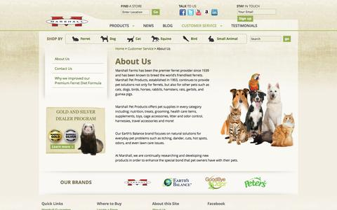 Screenshot of About Page marshallpet.com - About Us - Marshall Pet Products - captured Oct. 27, 2014