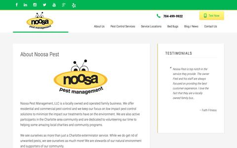 Screenshot of About Page noosapest.com - commercial, residential pest control - Noosa Pest Management - captured Oct. 18, 2018