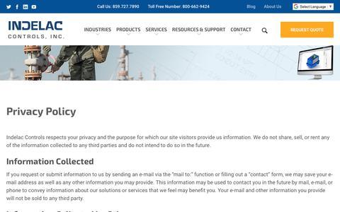 Screenshot of Privacy Page indelac.com - Privacy Policy | Indelac Controls, Inc. - captured Nov. 14, 2018