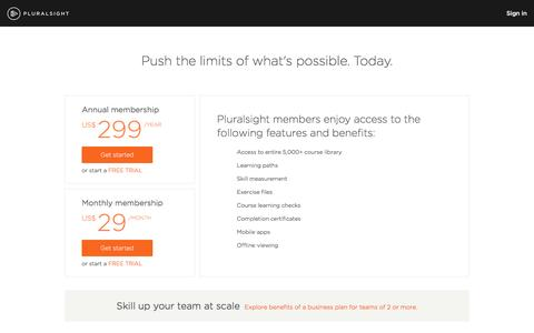 Screenshot of Pricing Page pluralsight.com - Pricing and plans | Pluralsight - captured Jan. 22, 2017
