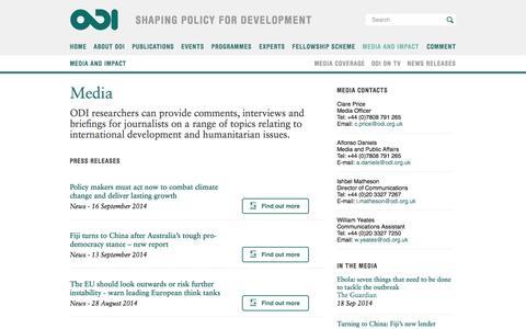 Screenshot of Press Page odi.org - Media | Overseas Development Institute (ODI) - captured Sept. 19, 2014