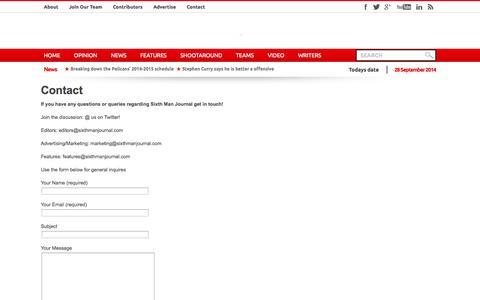 Screenshot of Contact Page sixthmanjournal.com - Contact | Sixth Man Journal - captured Sept. 30, 2014