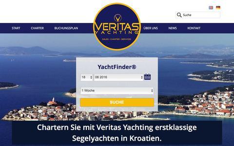 Screenshot of Home Page veritas-yachting.com - Ausgewählte Charteryachten ab Primosten in Kroatien - captured June 11, 2016