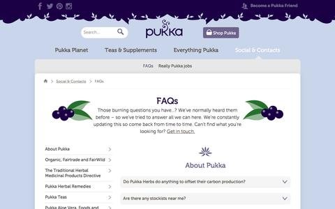 Screenshot of FAQ Page pukkaherbs.com - FAQs | Social & Contacts | Pukka Herbs - captured Dec. 13, 2015