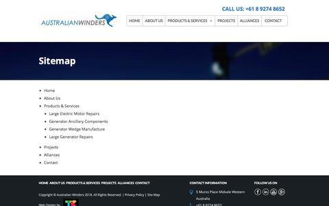 Screenshot of Site Map Page australianwinders.com.au - Sitemap | Australian Winders - captured July 31, 2018