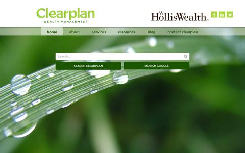 Screenshot of Home Page clear-plan.ca - Clearplan Wealth Management | Welcome - captured July 21, 2015