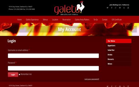 Screenshot of Login Page galeto.com - My Account | Galeto Brazilian Grill - captured Nov. 1, 2014
