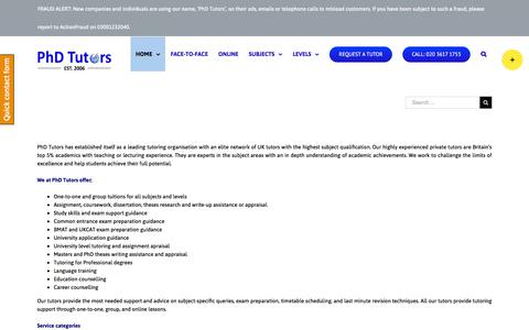 Screenshot of Services Page phdtutors.co.uk - Our Services, Home tutoring, Online tuition, Assignment help - PhD Tutors - captured July 17, 2018