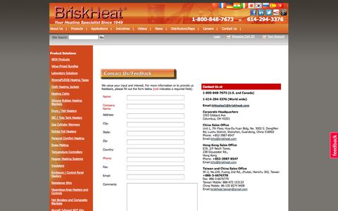 Screenshot of Contact Page briskheat.com - BriskHeat Contact Us Form and Locations. Your Heating Specialist since 1949 - captured Oct. 5, 2014