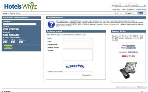 Screenshot of Support Page hotelswhiz.com - Help Desk, contact hotelswhiz.com. - captured Sept. 22, 2014
