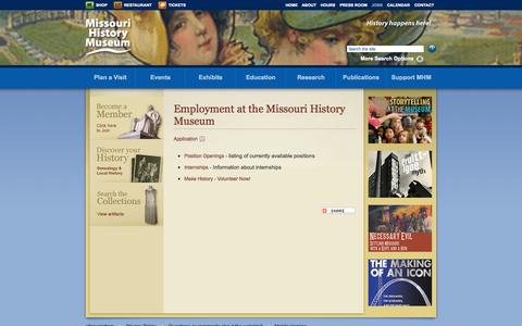 Screenshot of Jobs Page mohistory.org - Employment at the Missouri History Museum | Missouri History Museum - captured Sept. 19, 2014