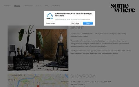 Screenshot of About Page somewherelondon.com - ABOUT — SOMEWHERE Agency - captured Sept. 30, 2017