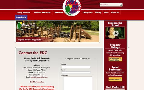 Screenshot of Contact Page cedarhilledc.com - Cedar Hill Economic Development Corporation - Contact Us - captured Oct. 2, 2014