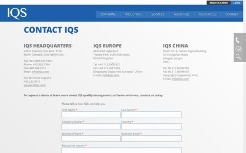 Screenshot of Contact Page iqs.com - Contact │ IQS,Inc. │ QMS Software - captured Nov. 19, 2016