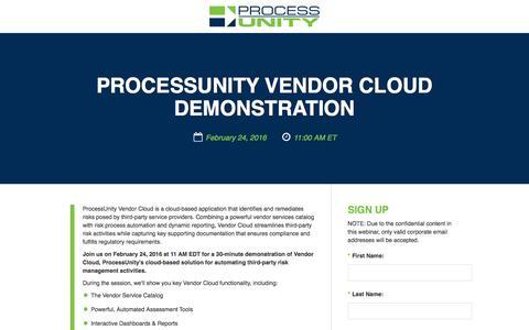 Screenshot of Landing Page processunity.com - Vendor Risk Management Software Demo - captured Dec. 6, 2016