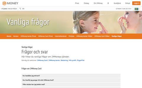 Screenshot of FAQ Page 24money.se - Vanliga frågor | 24Money - captured June 18, 2017