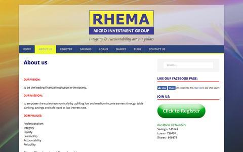 Screenshot of About Page rhema.co.ke - About us – Rhema Micro Investment Group - captured Jan. 25, 2017