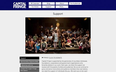 Screenshot of Support Page capitalfringe.org - Support · Capital Fringe - captured Jan. 16, 2016