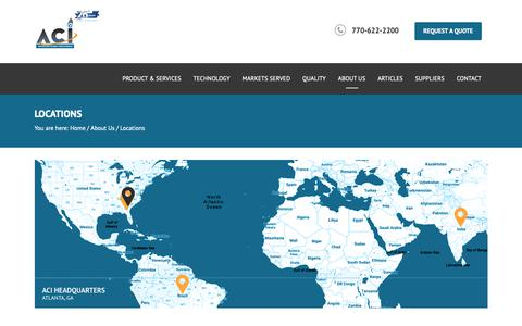 Screenshot of Locations Page aciatlanta.com - ACI - Advanced Circuitry International | Printed Circuit Board | Microwave PCB | RF PCB - captured Oct. 3, 2018