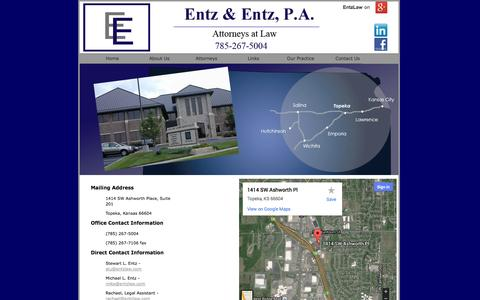 Screenshot of Contact Page entzlaw.com - Legal Services for Eastern Kansas - captured Oct. 3, 2014