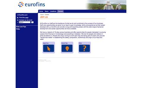 Screenshot of Jobs Page eurofins.com.au - Eurofins Australia Careers - captured Jan. 31, 2016