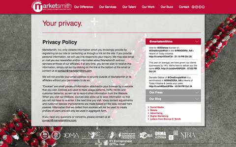 Screenshot of Privacy Page marketsmithinc.com - Privacy Policy » Marketsmith, Inc. - captured Oct. 27, 2014