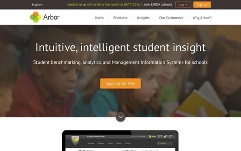 Screenshot of Home Page arbor-education.com - Arbor Education Partners - captured Feb. 6, 2016