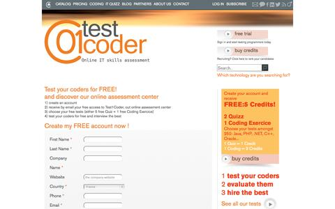 Screenshot of Trial Page test01coder.com - Test your code for FREE ! - captured Sept. 30, 2014