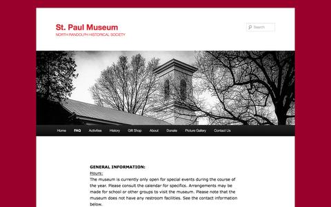 Screenshot of FAQ Page stpaulmuseum.org - FAQ | St. Paul Museum - captured May 25, 2016