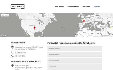 Screenshot of Contact Page kalogridis.com - Contact – KALOGRIDIS - captured Oct. 16, 2017