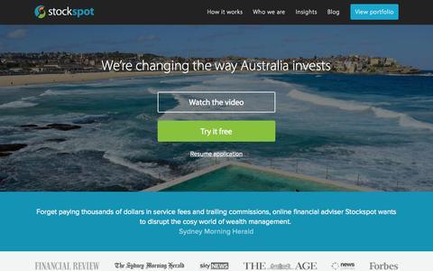 Screenshot of Home Page stockspot.com.au - Stockspot - Online investment adviser   Robo-advice - captured Sept. 21, 2015