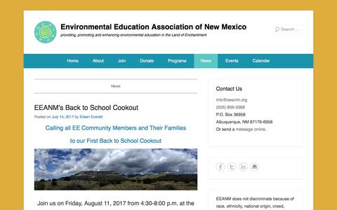 Screenshot of Press Page eeanm.org - News - Environmental Education Association of New Mexico - captured Aug. 13, 2017