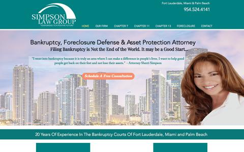 Screenshot of Home Page gochapter13.com - Simpson Law Group | Fort Lauderdale | Bankruptcy Attorney - captured Sept. 25, 2018
