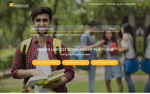 Screenshot of Home Page buddy4study.com - Scholarship portal for Indian students | Find scholarships info online - captured Sept. 23, 2018