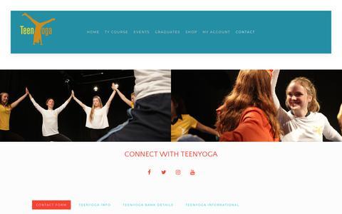 Screenshot of Contact Page teenyoga.com - Contact TeenYoga - TeenYoga - captured July 10, 2018