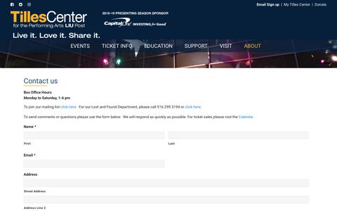 Screenshot of Contact Page tillescenter.org - Contact Us - TILLES CENTER - captured Sept. 23, 2018