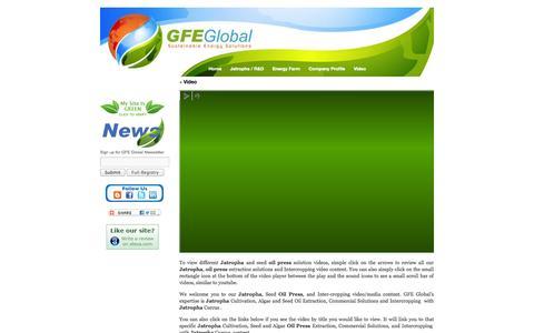 Screenshot of Press Page gfeglobal.com - Jatropha oil press, algae, oil seed, jatropha, biodiesel videos   GFE Global - captured Sept. 26, 2014