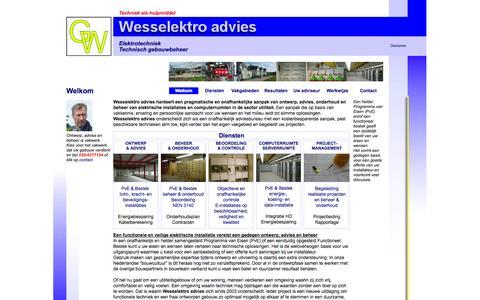 Screenshot of Home Page wesselektro.nl - Elektrische installatie; Ontwerp, advies, beoordeling en beheer - captured Oct. 7, 2014