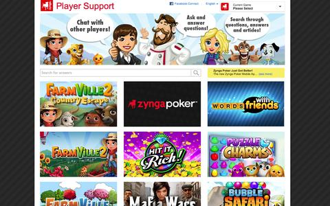 Screenshot of Support Page zynga.com - Zynga Support - captured Sept. 17, 2014