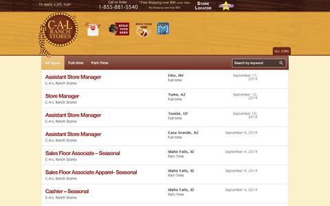 Screenshot of Jobs Page calranch.com - CAL Ranch Store - Career - captured Sept. 24, 2014