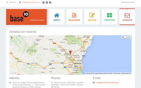 Screenshot of Contact Page base10informatica.com - Contacto - captured Nov. 3, 2014