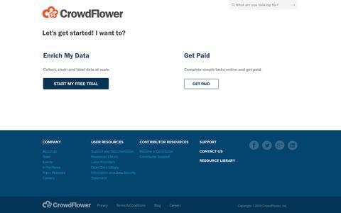 Screenshot of Signup Page crowdflower.com - Get Started - captured Sept. 13, 2014
